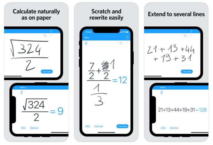 "Screen aplikacji mobilnej ""MyScript Calculator 2"""