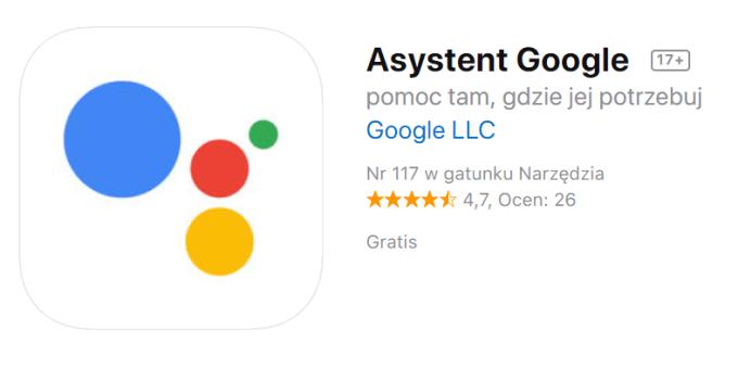 Asystent Google w sklepie App Store