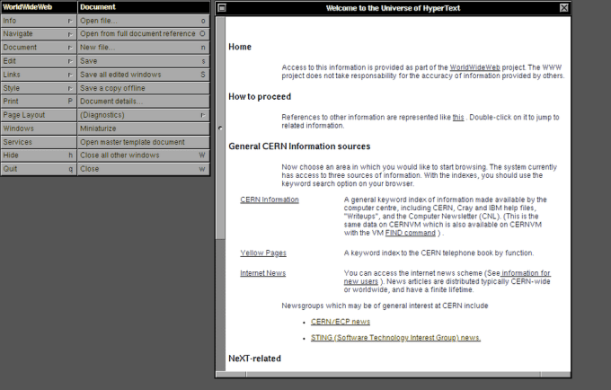 WorldWideWeb HyperText - history browser 1990 (CERN)