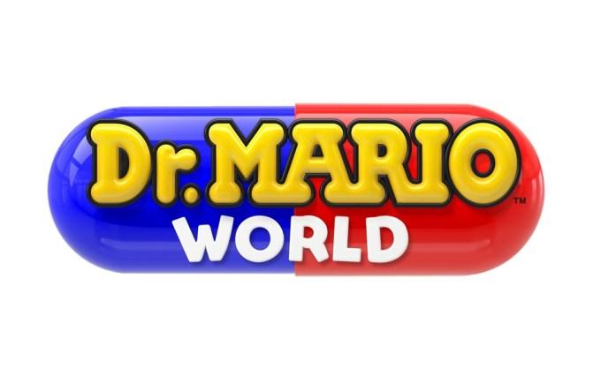 """""""Dr. Mario World"""" (logo gry mobilnej od Nintendo)"""