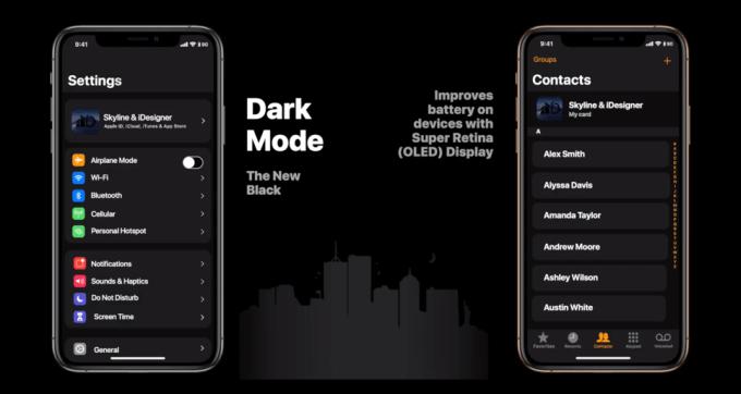 Koncepcja systemu iOS 13 (tryb ciemny)