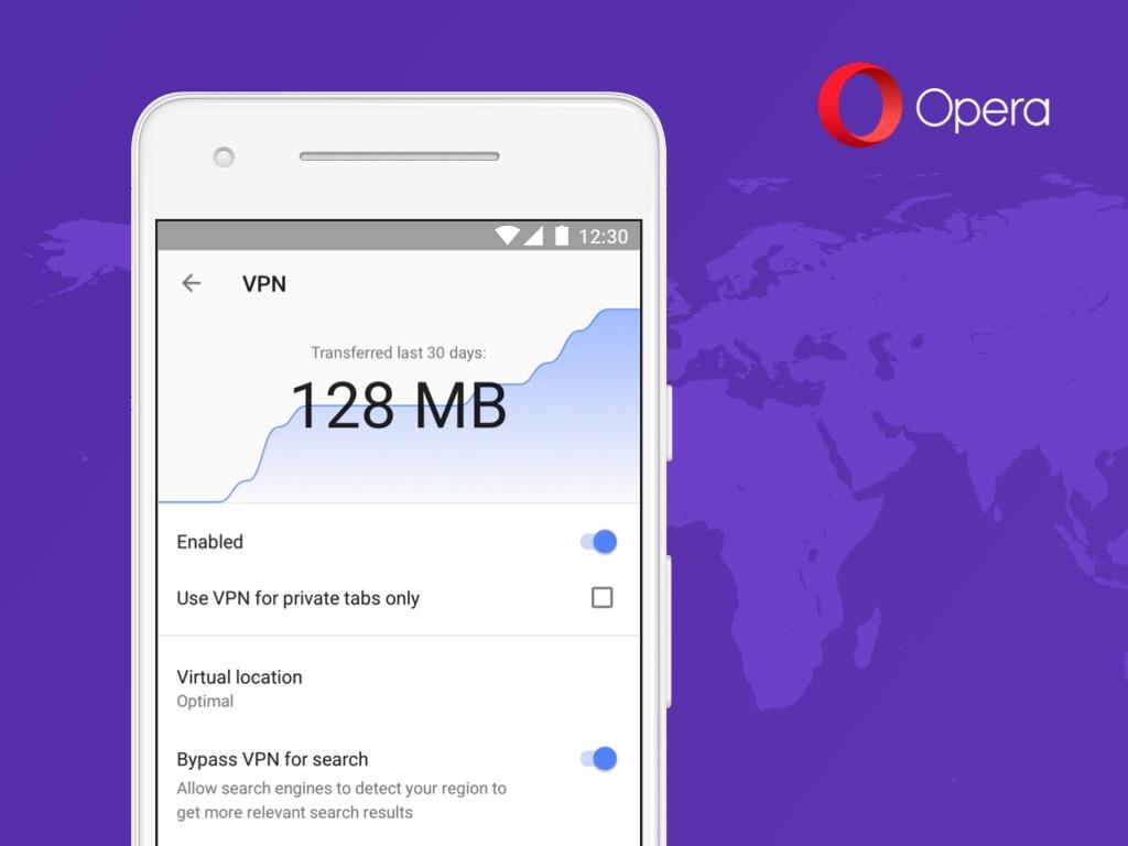 Opera z VPN-em na Androida