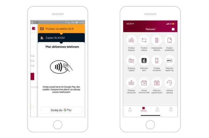 Apple Pay i Google Pay w aplikacji mobilnej Alior Banku.