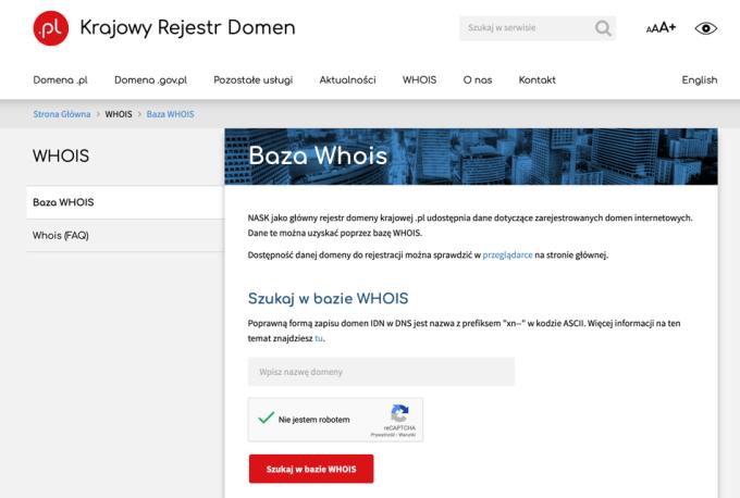Baza Whois (Krajowy Rejestr Domen NASK) - screen