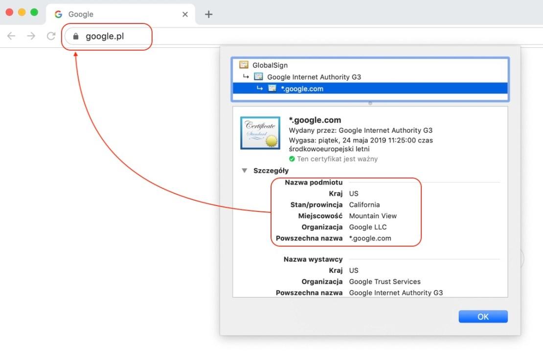 Szczegóły certyfikatu SSL dla strony google.pl