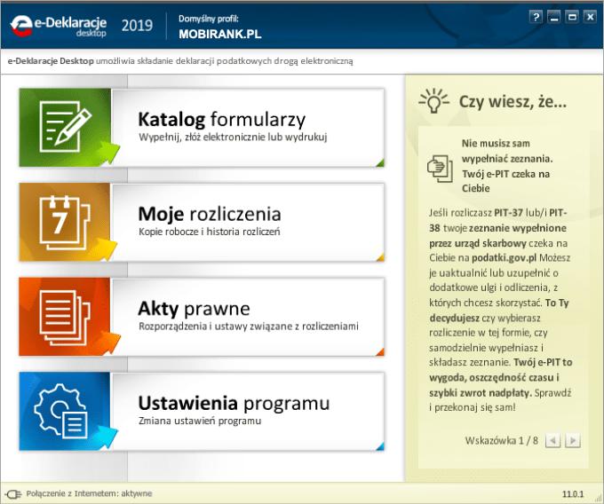 Zrzut ekranu z aplikacji e-Deklaracje 2019 (wersja 11.0.1)