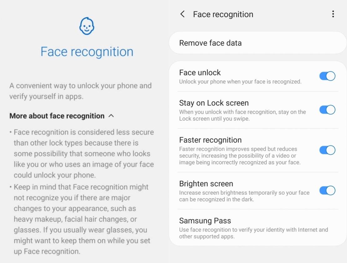 Face Unlock Galaxy S10 (screen)