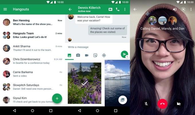 Screen z aplikacji mobilnej Hangouts