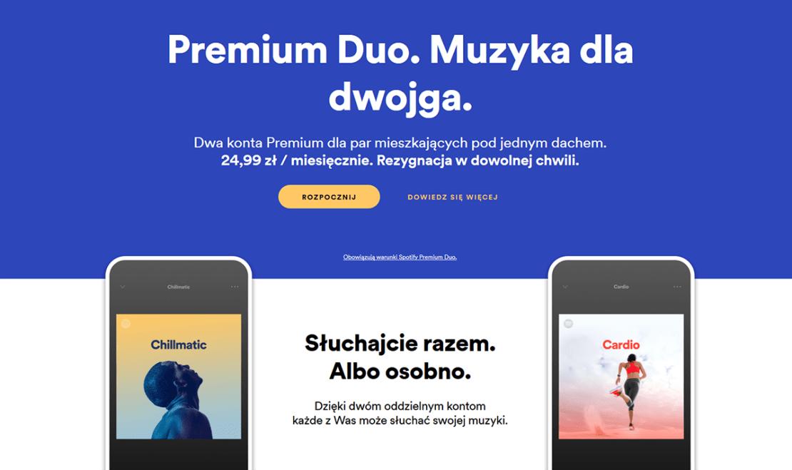 Plan Premium Duo w Spotify dostępny w Polsce