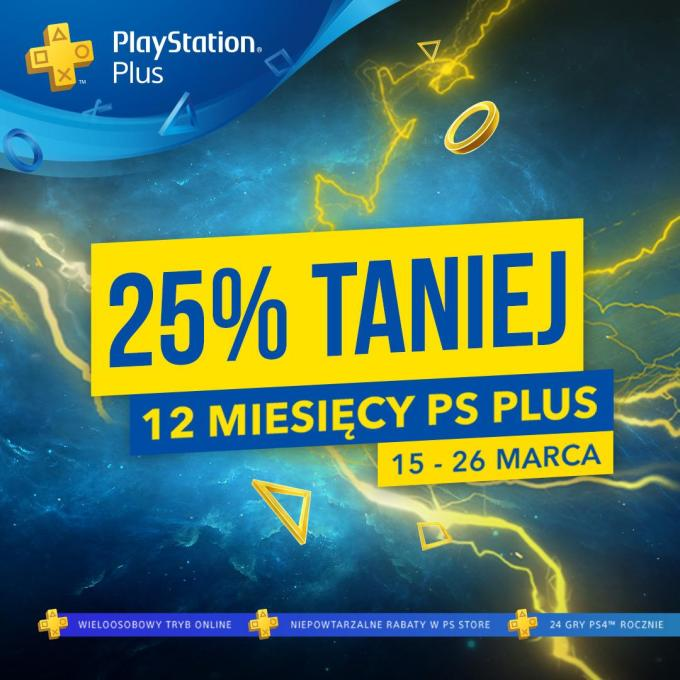 12 mies. Playstation Plus 25% taniej