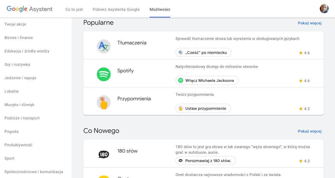 Screen - komendy Asystenta Google