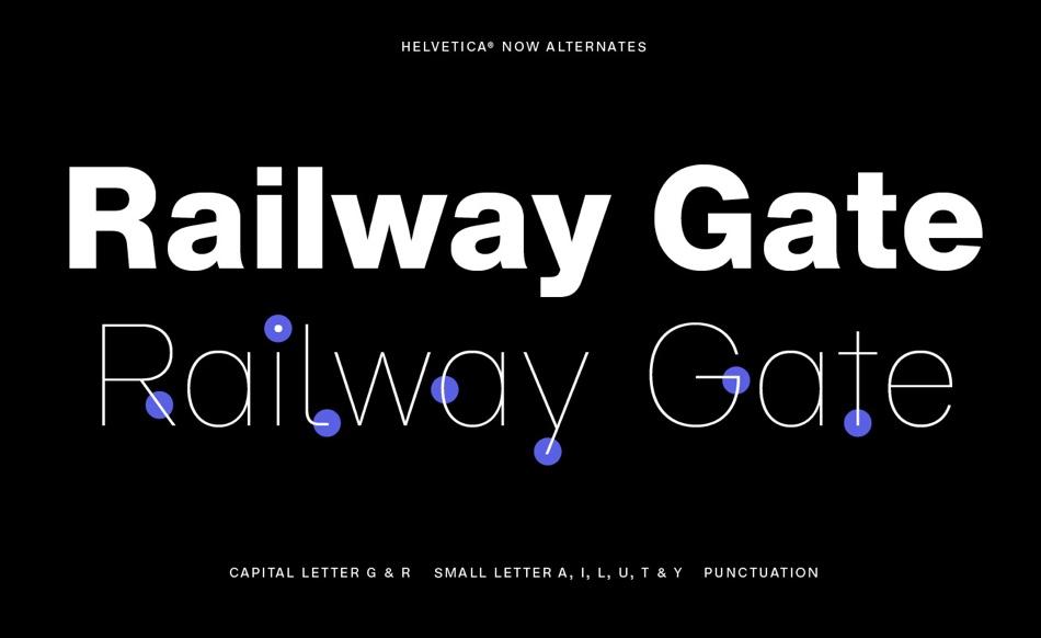 Widoczne różnice w kroju Helvetica Now