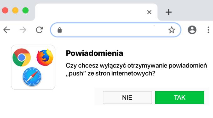 Jak wyłączyć zapytania o możliwość wysyłania powiadomień push przez strony internetowe w przeglądarkach.