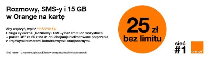 Rozmowy, SMSy i 15 GB w Orange na kartę
