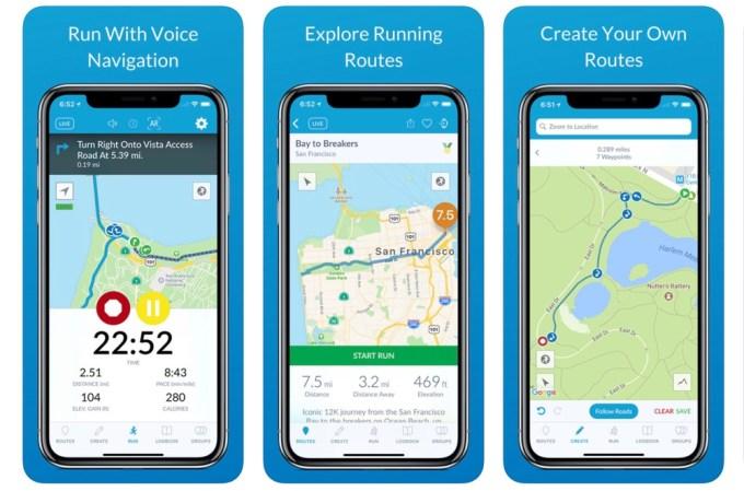 Zrzuty ekranu z aplikacji mobilnej RunGo - The Best Routes to Run