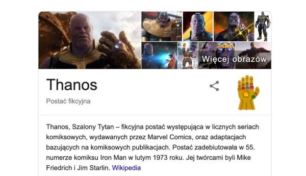 """Thanos """"kasuje internet"""" w wyszukiwarce Google"""