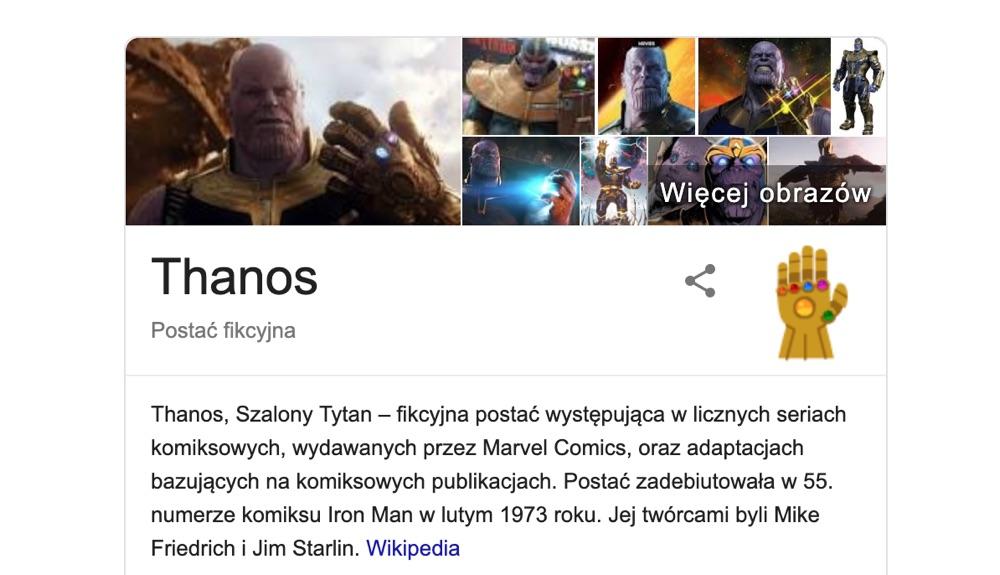 """Graf wiedzy w wyszukiwarce Google dla frazy """"Thanos"""""""