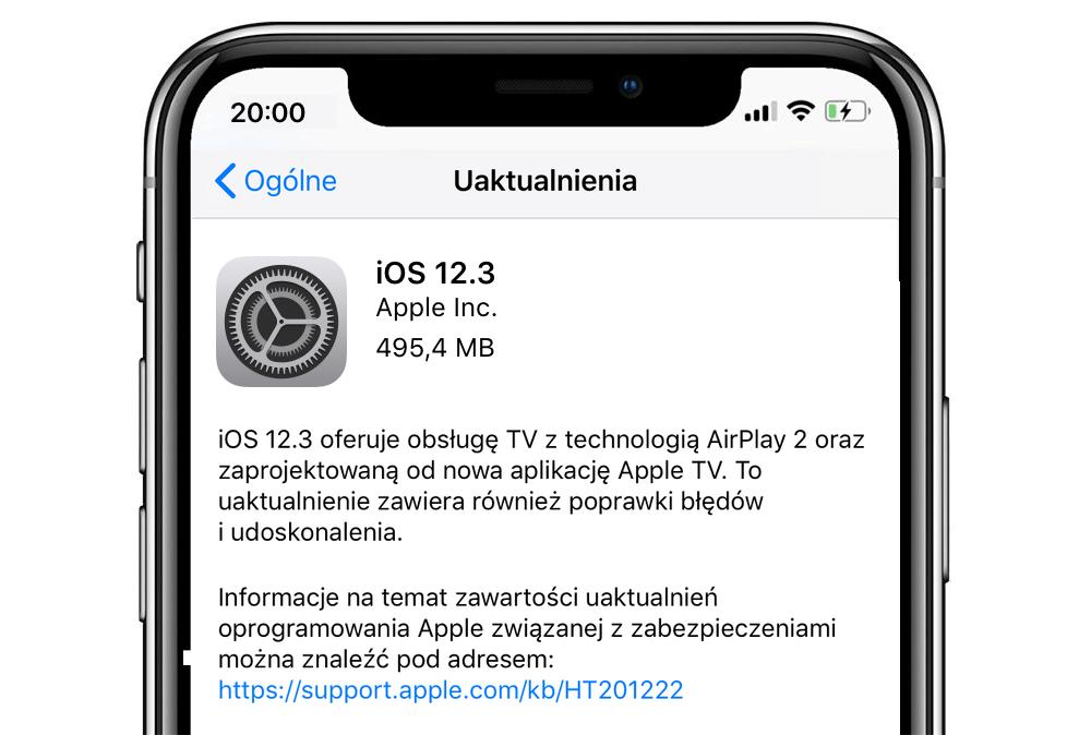 iOS 12.3 - uaktualnienie systemu mobilnego Apple'a