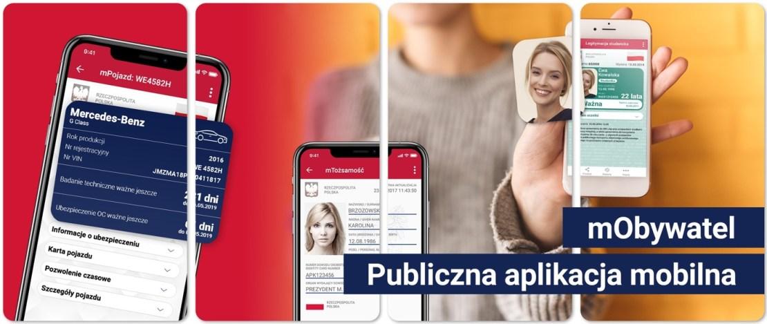 Screeny z aplikacji mObywatel
