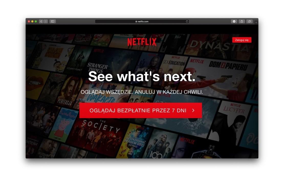 Screen strony głównej serwisu Netflix (wersja polska)