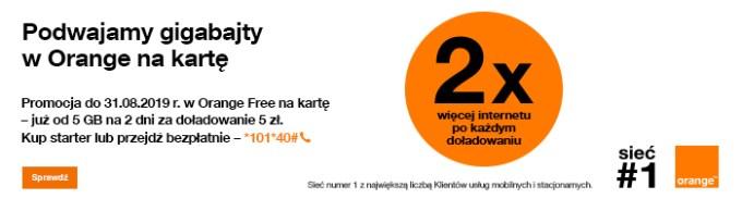 Orange podwaja gigabajty (promocja doładowań telefonów na kartę)