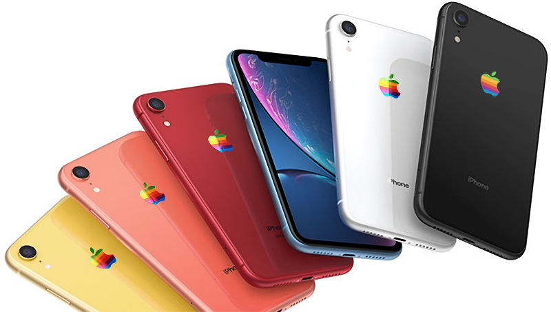 Koncepcja iPhone'a XR z tęczowym logo (fot. macRumors)