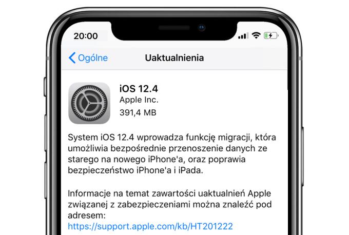 Uaktualnienie systemu iOS 12.4