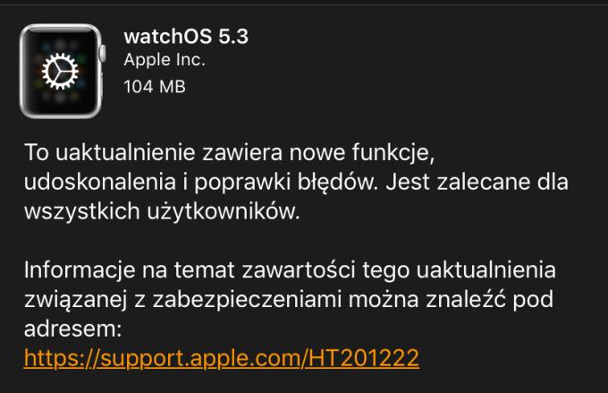 watchOS 5.3 update