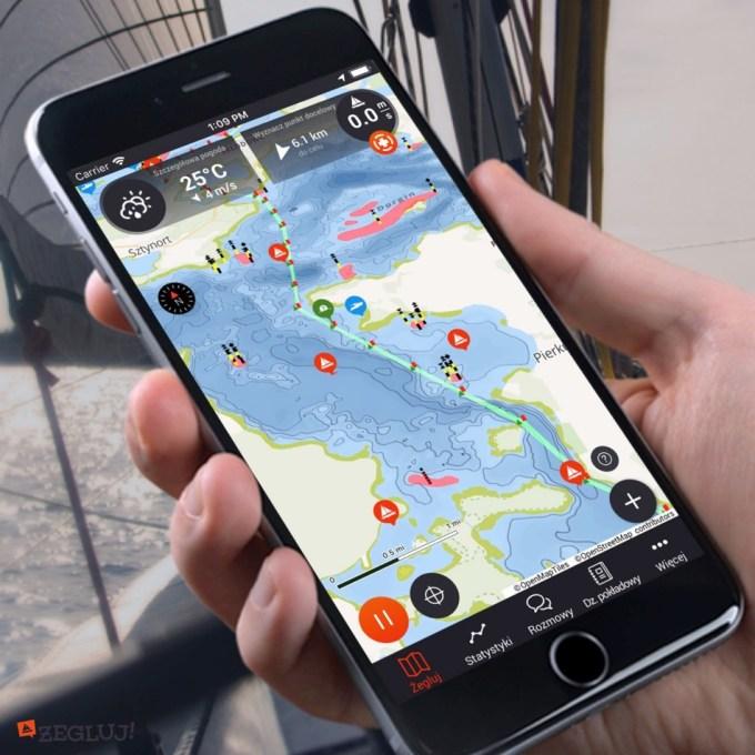 Screen z aplikacji mobilnej Żegluj