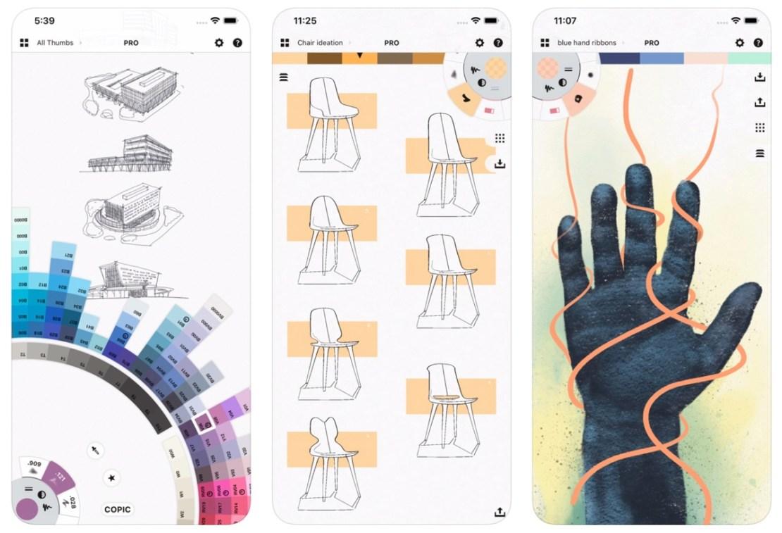Zrzuty ekranu z aplikacji Concepts