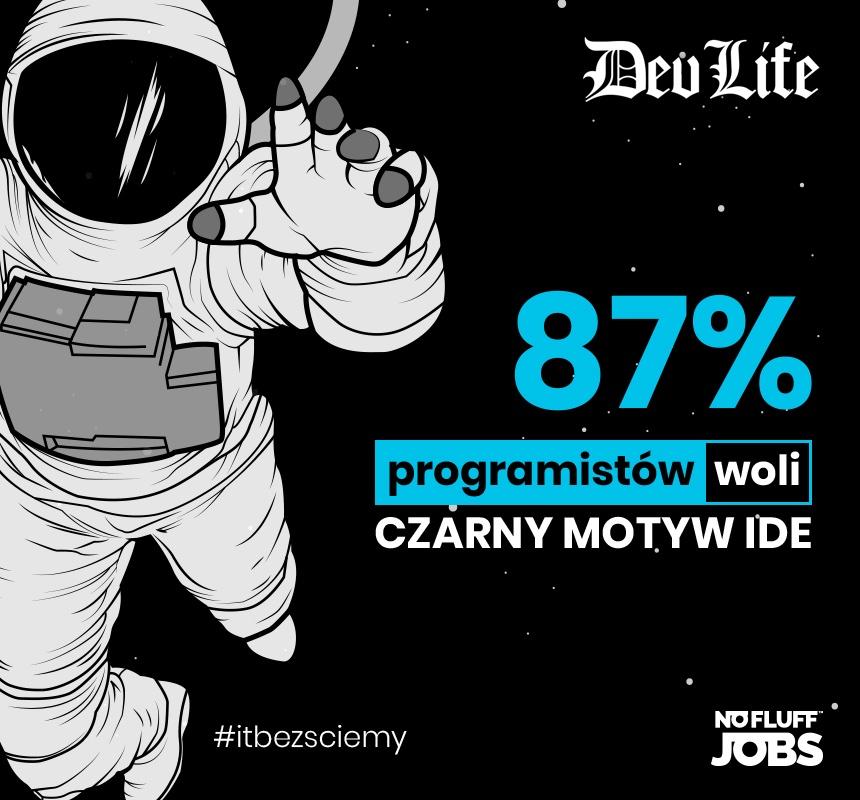 87% programistów woli czarny motyw IDE