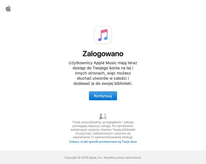 Ekran po zalogowaniu do Apple Music w przeglądarce internetowej