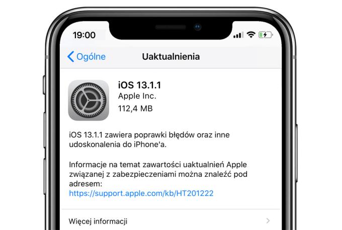 Uaktualnienie systemu iOS 13.1.1