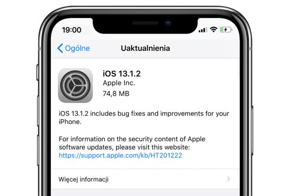 Drobna aktualizacja systemów iPadOS oraz iOS 13.1.2