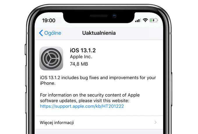 Uaktualnienie iOS 13.1.2
