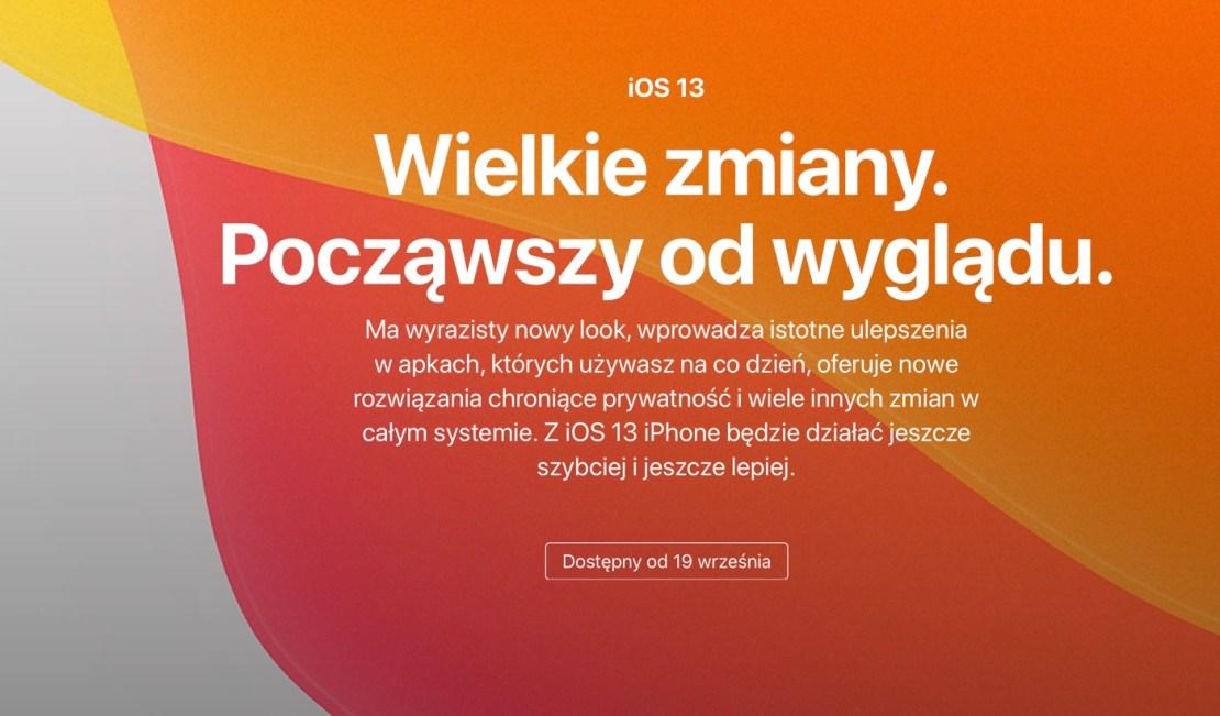 Zapowiedź systemu iOS 13