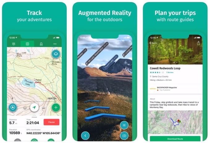 Zrzuty ekranu z aplikacji mobilnej ViewRanger: Hike, Ride or Walk