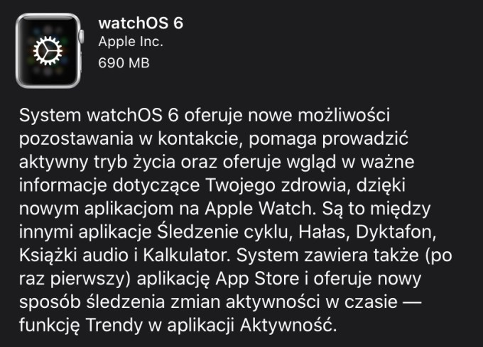 Opis systemu watchOS 6