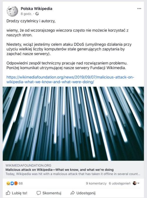 Oświadczenie na polskim profilu Wikipedii