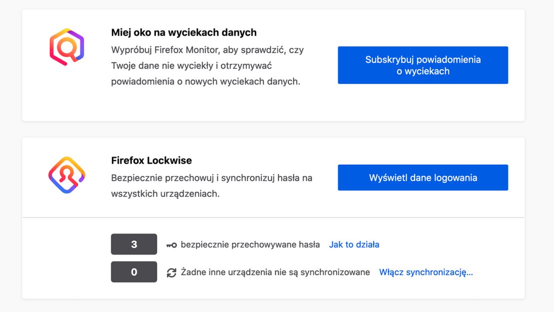 Firefox Monitor i Firefox Lockwise
