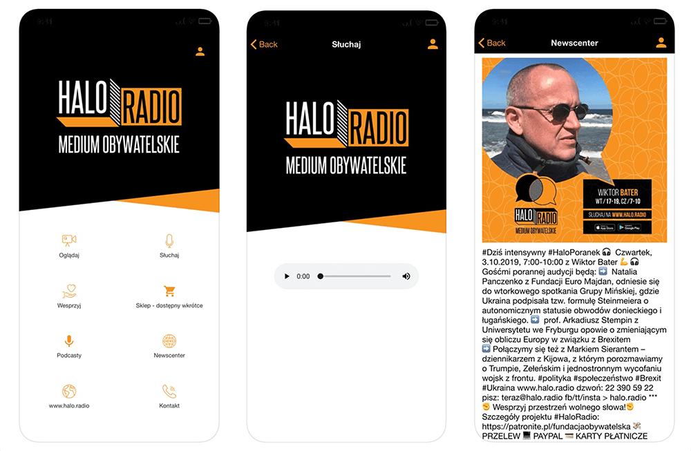 Zrzuty ekranu z aplikacji mobilnej Halo.Radio