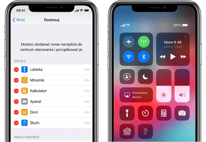 Ikona słuch w centrum sterowania (iOS)