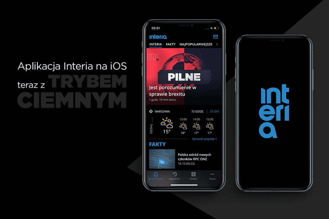 Interia z trybem ciemnym na iOS-a