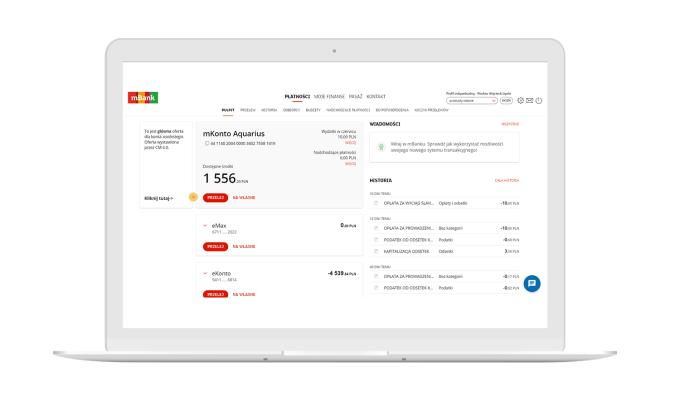 Nowy pulpit w serwisie transakcyjnym mBanku (screen na laptopie)