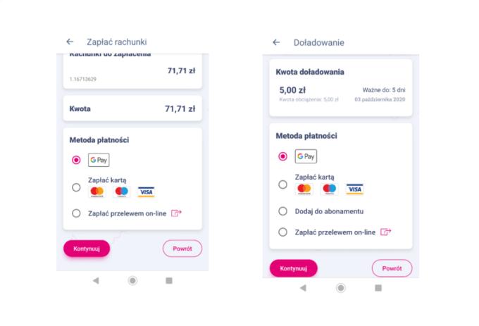"""Płatności Google Pay w aplikacji """"Mój T-Mobile"""""""
