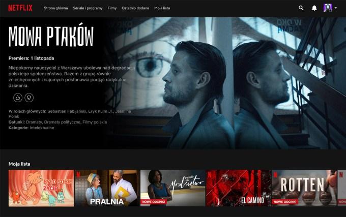 """""""Mowa ptaków"""" – screen z serwisu Netflix"""