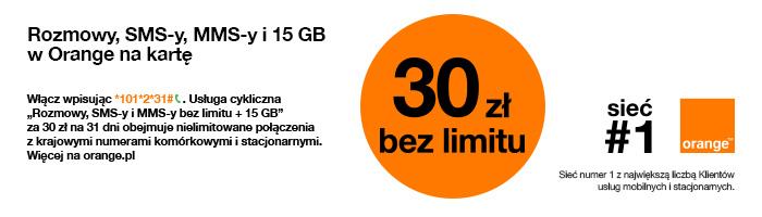 Rozmowy i SMS-y bez limitu + pakiet GB w Orange na kartę