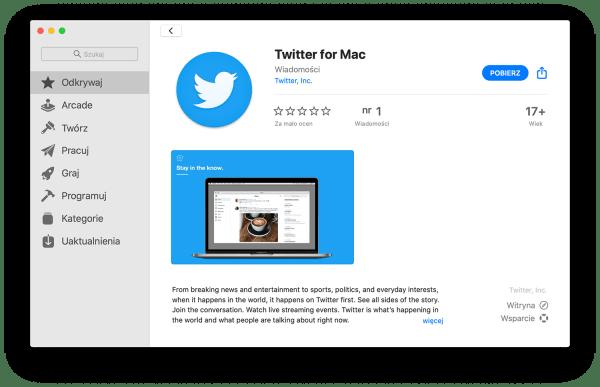 Twitter dla komputerów Mac można pobrać z Mac App Store