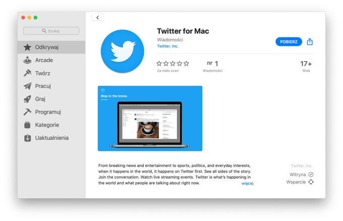 Twitter for Mac w sklepie Mac App Store