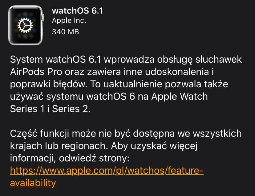 Informacje o uaktualnieniu watchOS 6.1